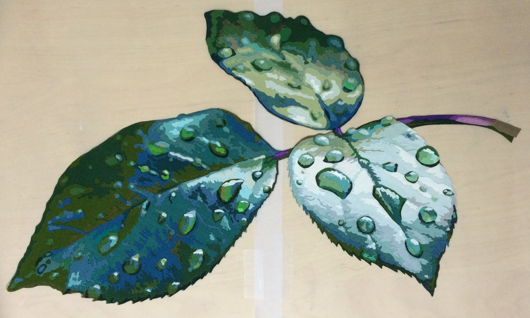 completed leaf ready to applique to the background