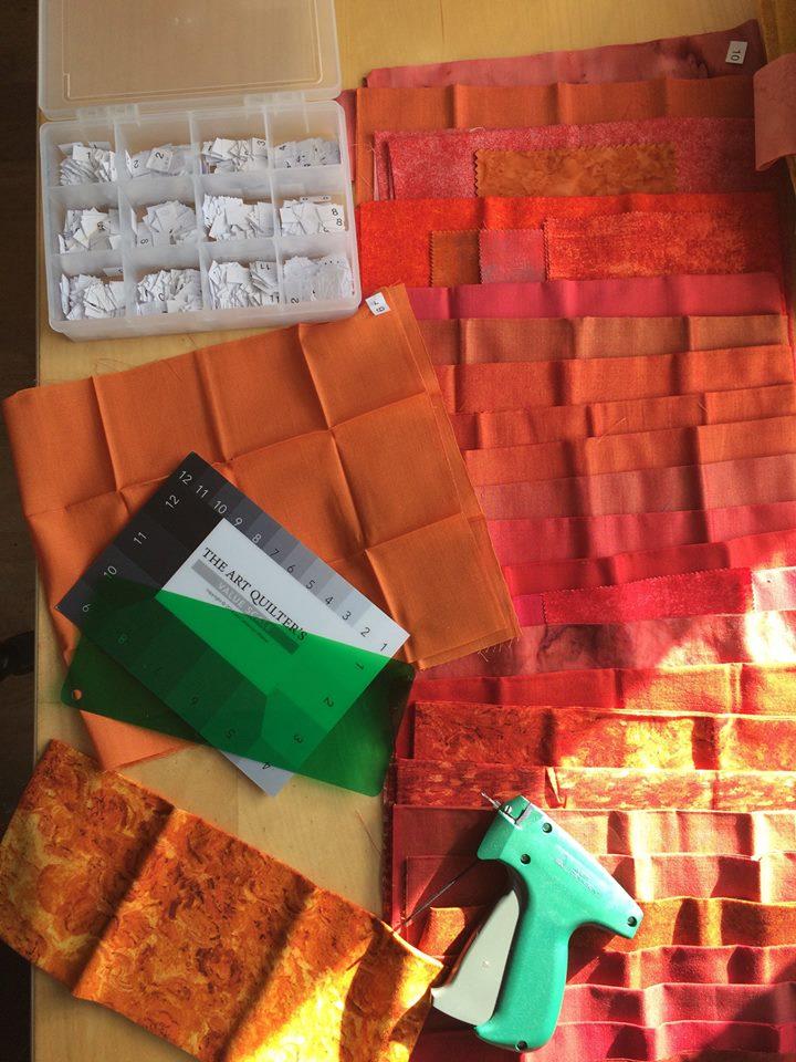 organising fabrics into tonal shades