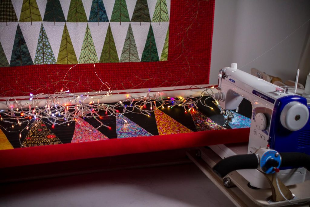 The Juki TL QVP Mini on the Machine Quilter frame