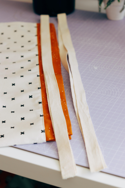 Adding the drawstring ribbon
