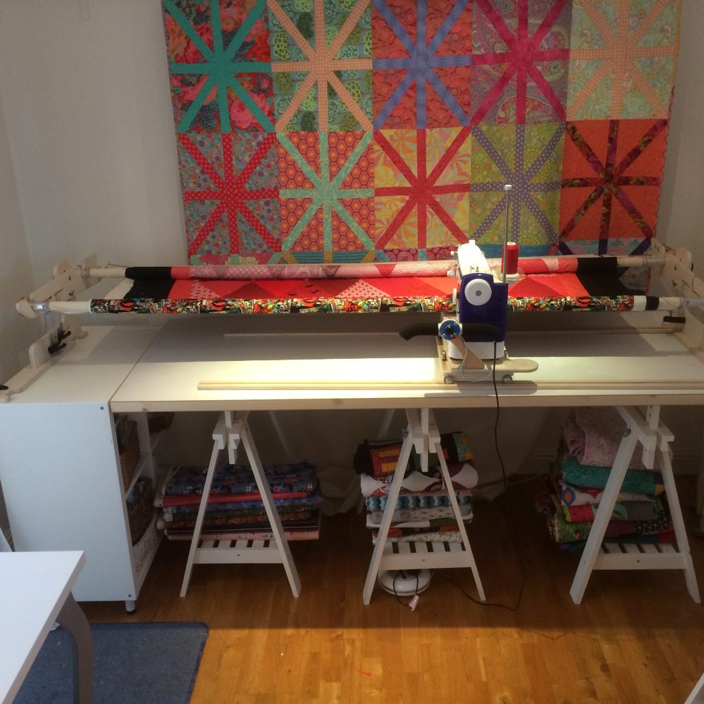 triangle quilt on the 8-foot Machine Quilter frame
