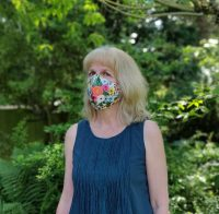 Martha Milne in the Juki Club face mask