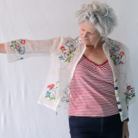 Jen Hogg's vintage tablecloth top with Nuno fabric buttons