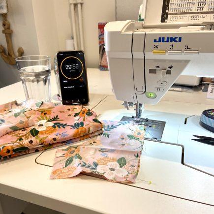 Juki NX7 sewing machine sunk into a RMF sewing table
